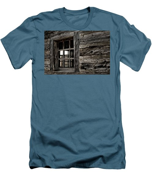 Men's T-Shirt (Slim Fit) featuring the photograph Hudson Bay Fort Window by Brad Allen Fine Art