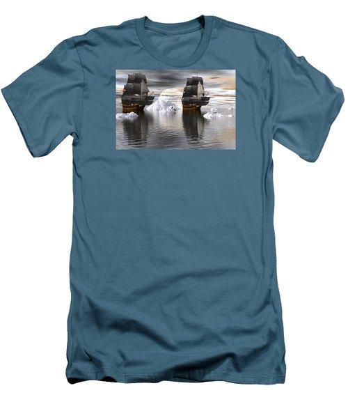 Men's T-Shirt (Slim Fit) featuring the digital art Hudson Bay Ships by Claude McCoy