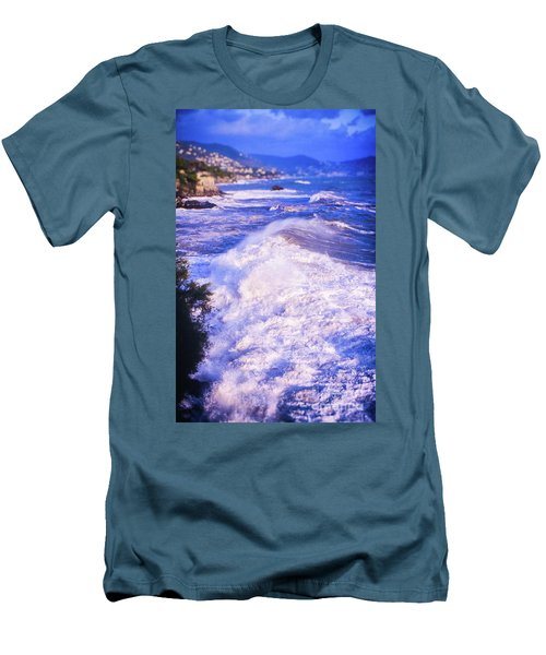 Men's T-Shirt (Athletic Fit) featuring the photograph Huge Wave In Ligurian Sea by Silvia Ganora