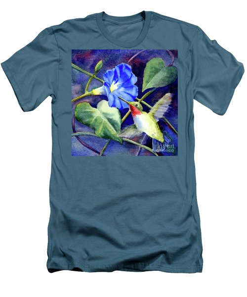 Men's T-Shirt (Slim Fit) featuring the painting Hummingbird Delight by Bonnie Rinier