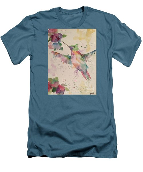 Men's T-Shirt (Slim Fit) featuring the painting Hummingbird by Denise Tomasura