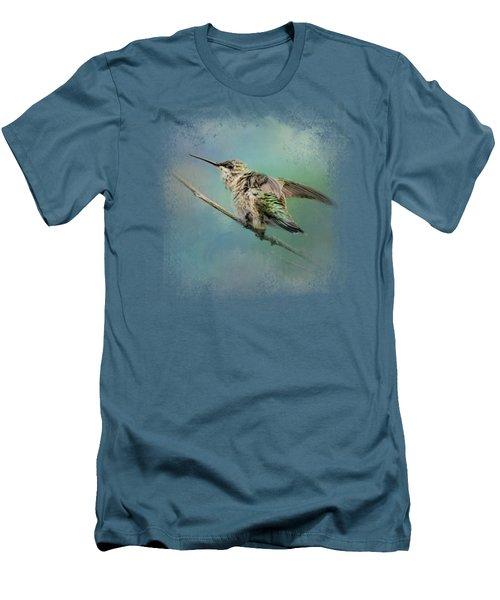 Hummingbird On Mint Men's T-Shirt (Athletic Fit)