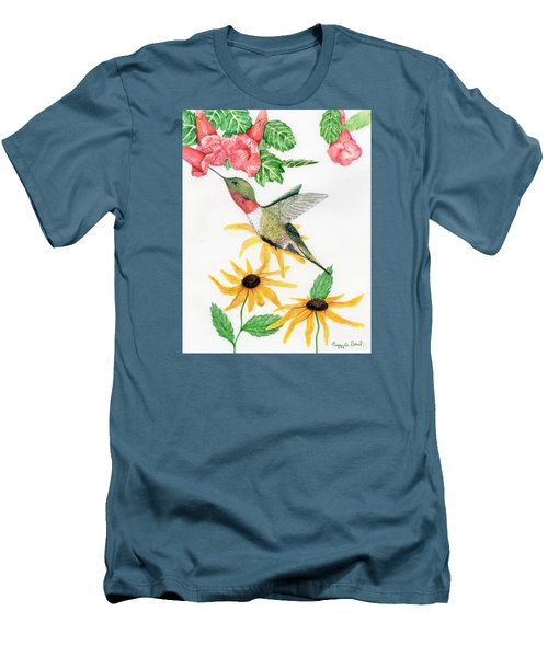 Men's T-Shirt (Slim Fit) featuring the painting Hummingbird by Peggy A Borel