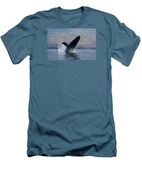 Humpback Whale Breach Men's T-Shirt (Slim Fit) by Jennifer Ancker