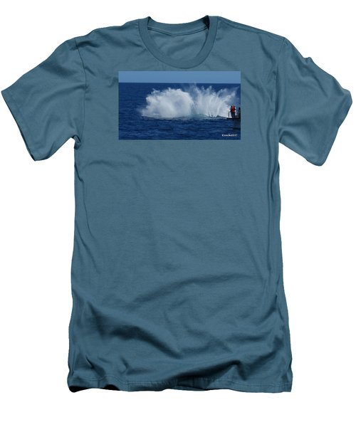 Humpback Whale Breaching Close To Boat 23 Image 3 Of 4 Men's T-Shirt (Slim Fit) by Gary Crockett
