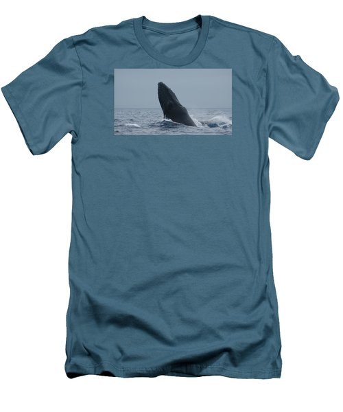 Men's T-Shirt (Slim Fit) featuring the photograph Humpback Whale Breaching by Gary Crockett