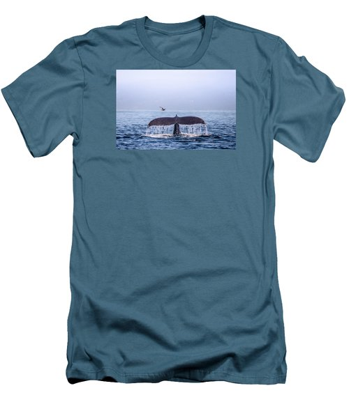 Humpback Whale Flukes Men's T-Shirt (Slim Fit) by Janis Knight