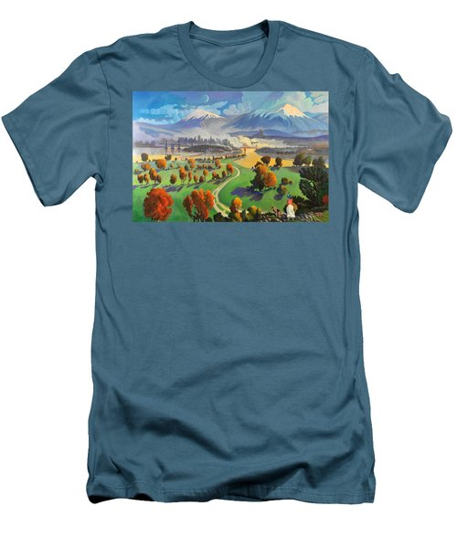 Men's T-Shirt (Slim Fit) featuring the painting I Dreamed America by Art James West