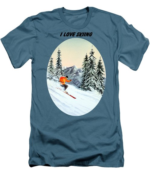 I Love Skiing  Men's T-Shirt (Slim Fit) by Bill Holkham
