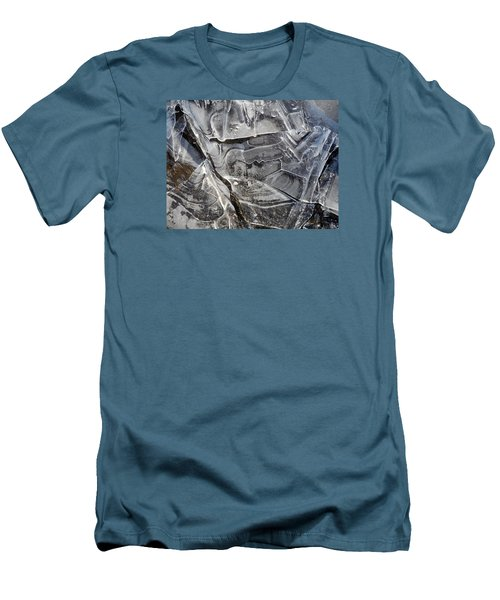 Men's T-Shirt (Slim Fit) featuring the photograph Ice Abstract by Lynda Lehmann