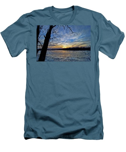 Men's T-Shirt (Slim Fit) featuring the photograph Icy River by Cricket Hackmann