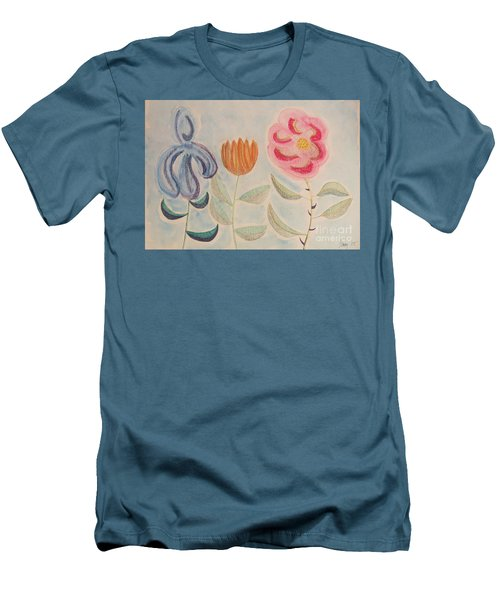 Men's T-Shirt (Athletic Fit) featuring the painting Imagined Flowers Two by Rod Ismay