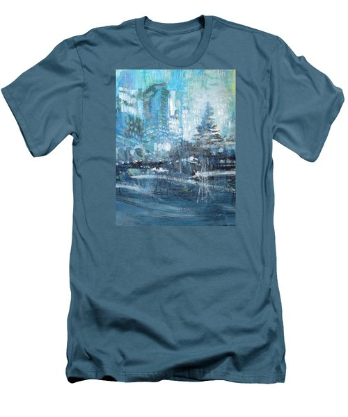 Men's T-Shirt (Slim Fit) featuring the painting In A Winter Urban Park by John Fish