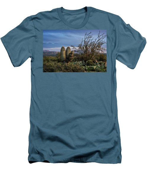 Men's T-Shirt (Slim Fit) featuring the photograph In The Green Desert  by Saija Lehtonen