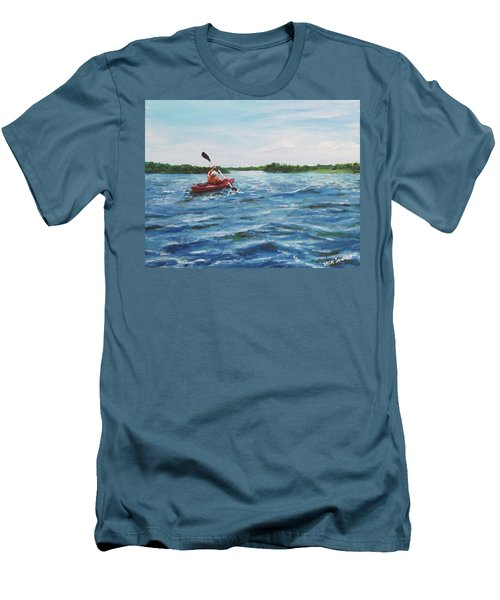 Men's T-Shirt (Slim Fit) featuring the painting In The Kayak by Jack Skinner