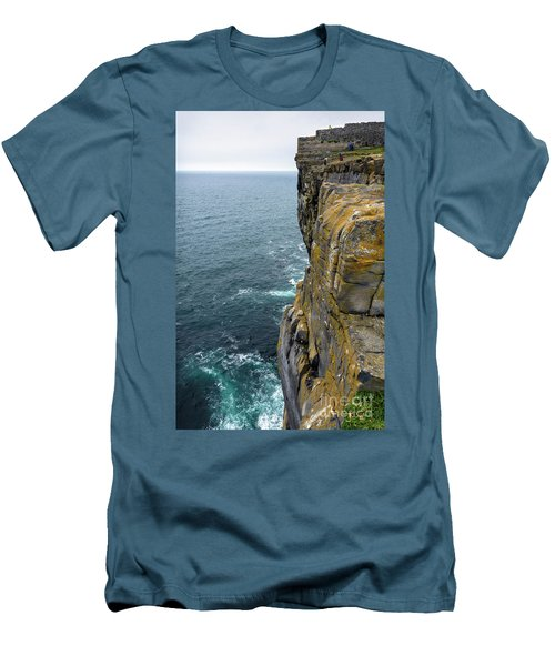 Men's T-Shirt (Slim Fit) featuring the photograph Inishmore Cliff And Dun Aengus  by RicardMN Photography
