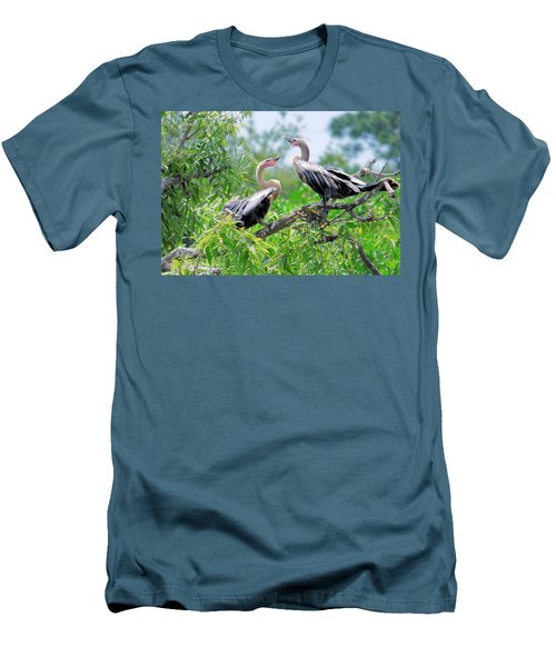 Interacting Young Anhingas Men's T-Shirt (Slim Fit) by Rosalie Scanlon