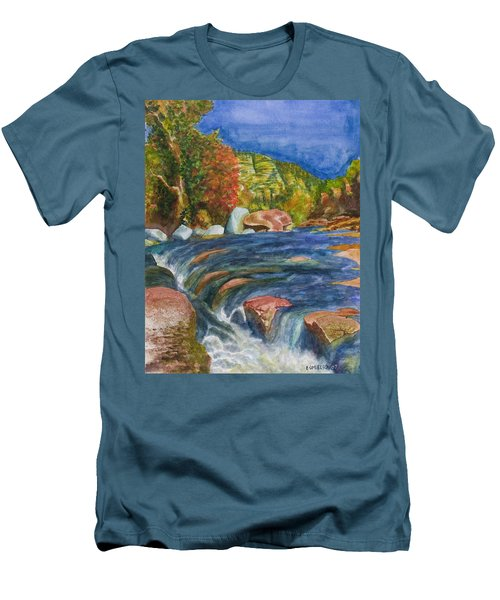 Men's T-Shirt (Slim Fit) featuring the painting Into Slide Rock by Eric Samuelson