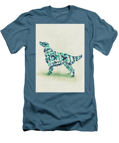 Men's T-Shirt (Athletic Fit) featuring the painting Irish Setter Watercolor Painting / Typographic Art by Ayse and Deniz