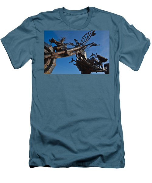 Iron Motorcycle Sculpture In Faro Men's T-Shirt (Athletic Fit)