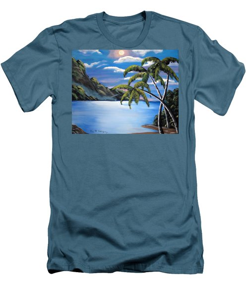 Island Night Glow Men's T-Shirt (Slim Fit) by Luis F Rodriguez