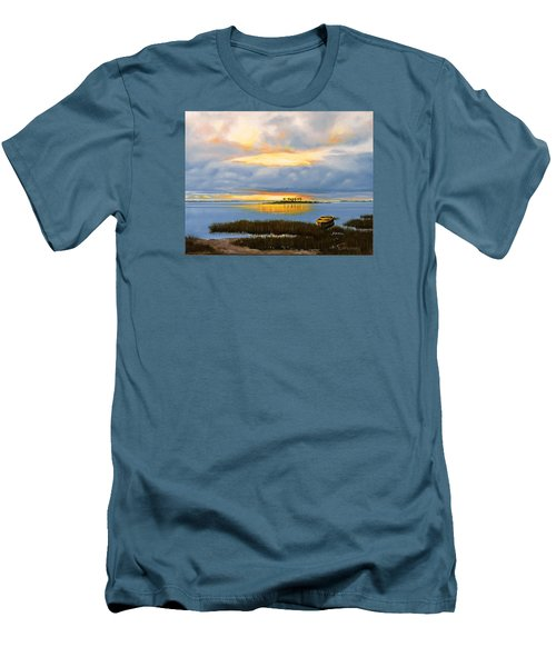 Men's T-Shirt (Slim Fit) featuring the painting Island Sunset by Rick McKinney
