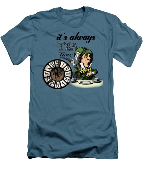 It's Always Tea Time Mad Hatter Dictionary Art Men's T-Shirt (Slim Fit) by Jacob Kuch