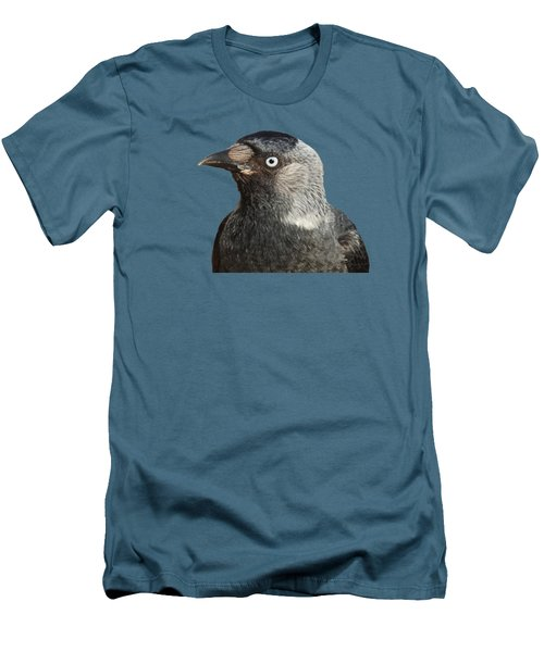 Jackdaw Corvus Monedula Bird Portrait Vector Men's T-Shirt (Slim Fit) by Tracey Harrington-Simpson