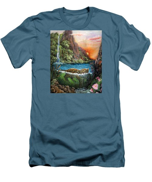 Jaguar Sunset  Men's T-Shirt (Slim Fit) by Retta Stephenson