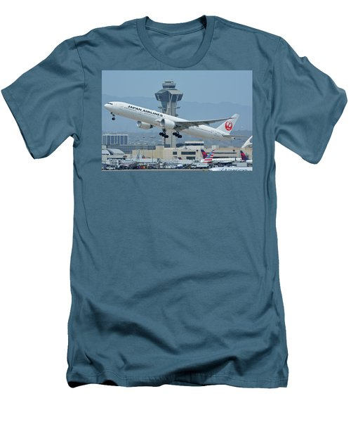 Men's T-Shirt (Slim Fit) featuring the photograph Japan Airlines Boeing 777-346er Ja737j Los Angeles International Airport May 3 2016 by Brian Lockett