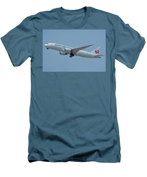 Men's T-Shirt (Slim Fit) featuring the photograph Japan Airlines Boeing 787-8 Ja835j Los Angeles International Airport May 3 2016 by Brian Lockett