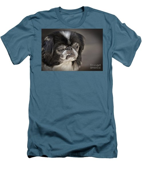 Japanese Chin Doggie Portrait Men's T-Shirt (Slim Fit) by Jim Fitzpatrick
