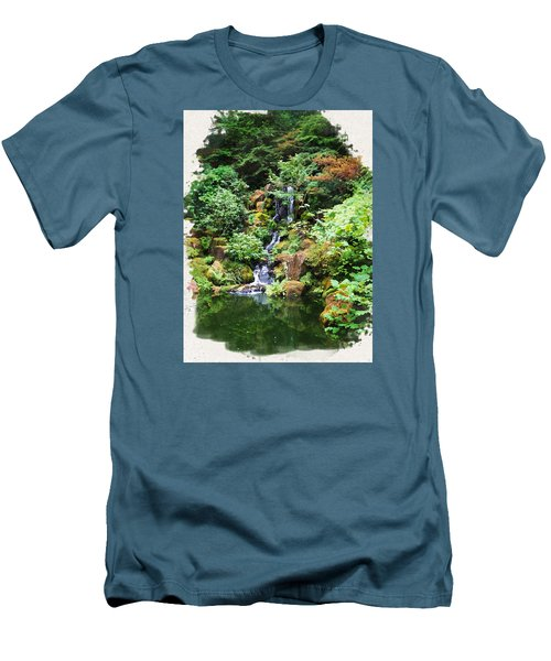 Japanese Garden Waterfall 2 Men's T-Shirt (Athletic Fit)