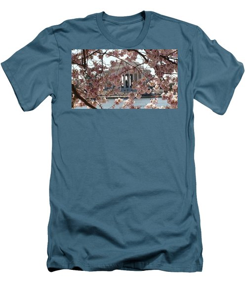 Men's T-Shirt (Athletic Fit) featuring the photograph Jefferson Through The Cherry Blossoms by Charles Kraus