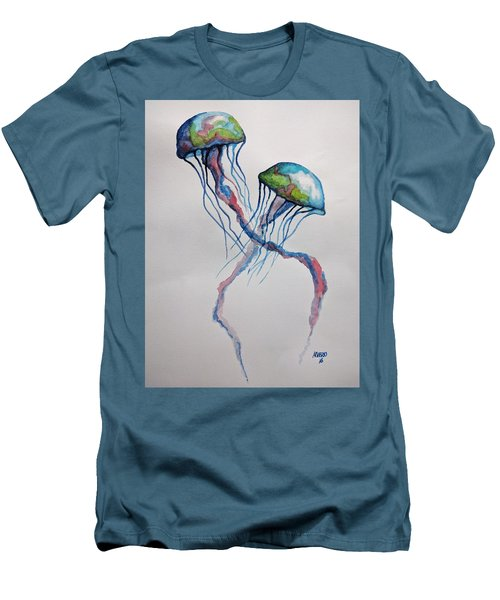 Men's T-Shirt (Slim Fit) featuring the painting Jellyfish by Edwin Alverio