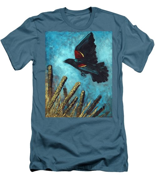 Men's T-Shirt (Slim Fit) featuring the painting Jewel Among The Cattails by Suzanne McKee
