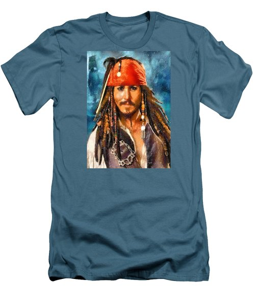Men's T-Shirt (Slim Fit) featuring the digital art Johnny Depp As Jack Sparrow by Charmaine Zoe