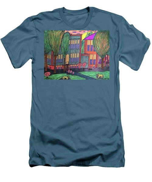 Men's T-Shirt (Slim Fit) featuring the drawing Jordan College West Drive Menominee by Jonathon Hansen