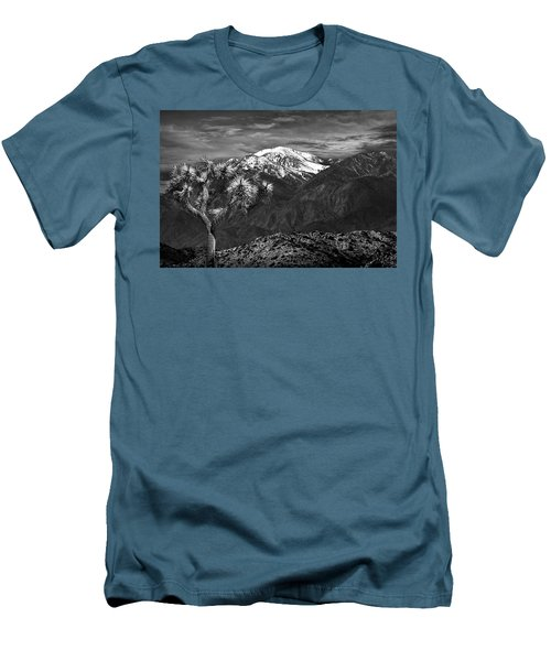 Men's T-Shirt (Slim Fit) featuring the photograph Joshua Tree At Keys View In Black And White by Randall Nyhof