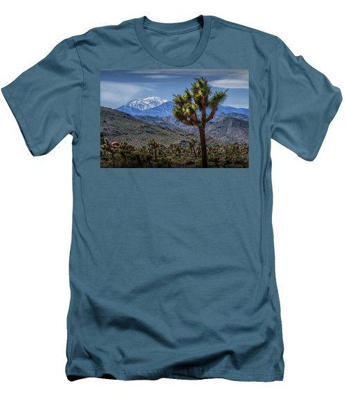 Men's T-Shirt (Slim Fit) featuring the photograph Joshua Tree In Joshua Park National Park With The Little San Bernardino Mountains In The Background by Randall Nyhof