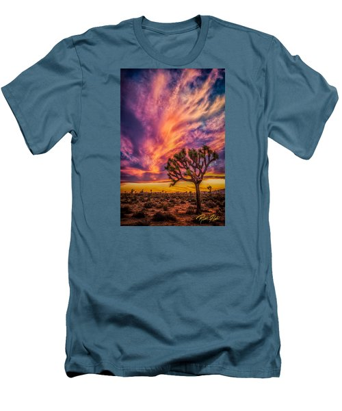 Joshua Tree In The Glowing Swirls Men's T-Shirt (Slim Fit)