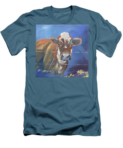 Men's T-Shirt (Athletic Fit) featuring the painting Just A Big Happy Cow On A Little Square Canvas by Jan Dappen
