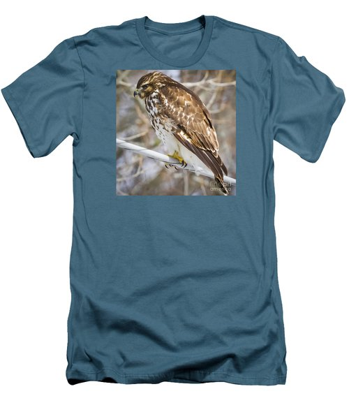Men's T-Shirt (Slim Fit) featuring the photograph Juvenile Red-shouldered Hawk  by Ricky L Jones
