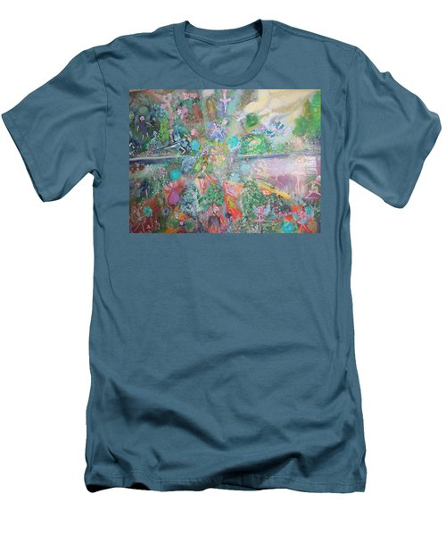 Men's T-Shirt (Slim Fit) featuring the painting Kaleidoscope Fairies Too by Judith Desrosiers