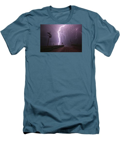 Men's T-Shirt (Slim Fit) featuring the photograph Kansas Lightning by Ryan Crouse