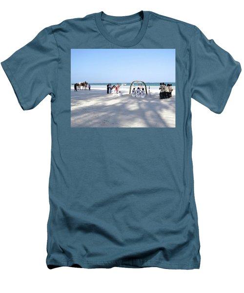Kenya Wedding On Beach Wide Scene Men's T-Shirt (Slim Fit) by Exploramum Exploramum
