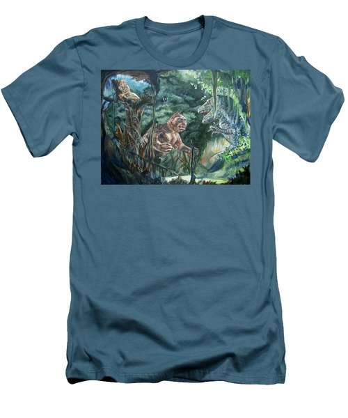 Men's T-Shirt (Slim Fit) featuring the painting King Kong Vs T-rex by Bryan Bustard