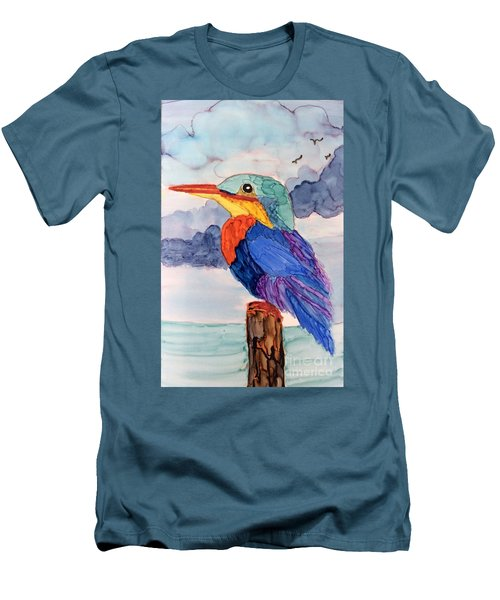 Men's T-Shirt (Slim Fit) featuring the painting Kingfisher On Post by Suzanne Canner