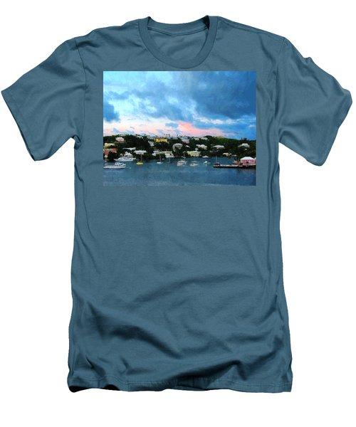 King's Wharf Bermuda Harbor Sunrise Men's T-Shirt (Slim Fit) by Susan Savad