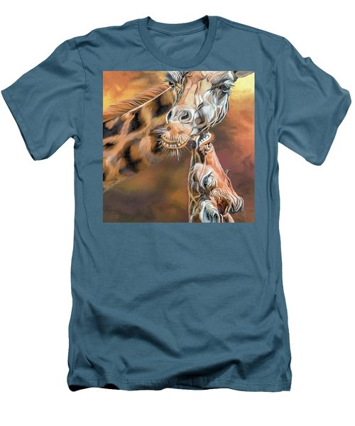 Men's T-Shirt (Athletic Fit) featuring the mixed media Kiss For Mama by Carol Cavalaris